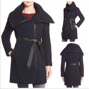 Cole haan boucle collar coat wool blend belted 4